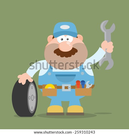 Smiling Mechanic Cartoon Character With Tire And Huge Wrench Flat Style. Vector Illustration With Backgroun - stock vector