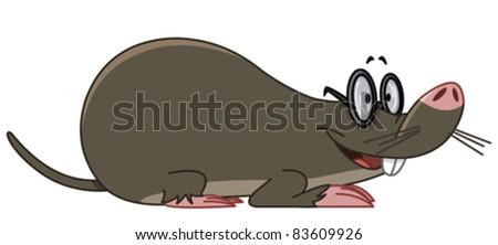 Smiling mole wearing eyeglasses - stock vector