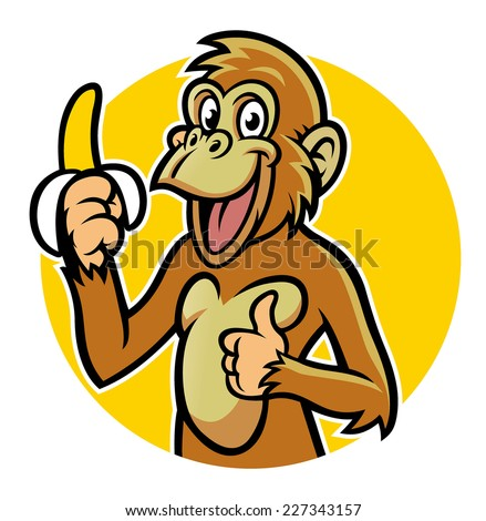 smiling monkey with banana - stock vector