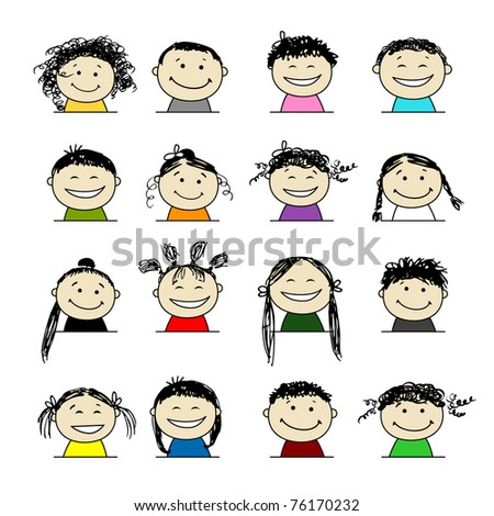 Smiling people icons for your design - stock vector