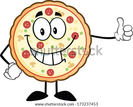 Smiling Pizza Cartoon Mascot Character Giving A Thumb Up. Vector Illustration Isolated on white - stock vector