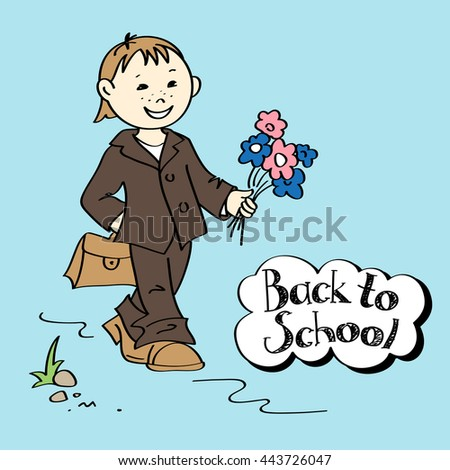 Smiling schoolboy in a school uniform with flowers and schoolbag going to school, vector illustration - stock vector