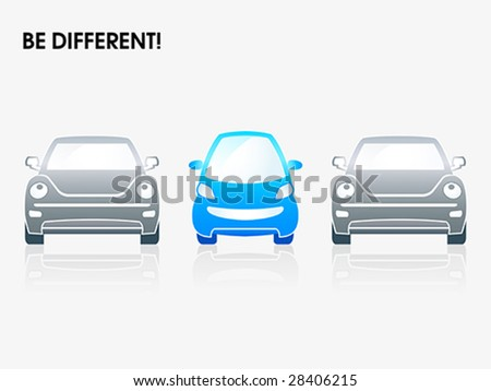 "Smiling small car between gray ones | ""Be different"" series - stock vector"