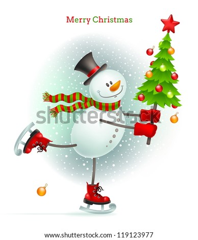 Smiling snowman with Christmas tree in hands skating on ice - vector illustration - stock vector