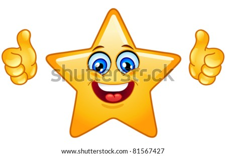 Smiling star showing thumbs up - stock vector