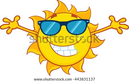 Smiling Summer Sun Cartoon Mascot Character With Sunglasses And Open Arms For Hugging. Vector Illustration Isolated On White Background - stock vector