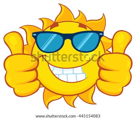 Smiling Sun Cartoon Mascot Character With Sunglasses Giving A Double Thumbs Up. Vector Illustration Isolated On White Background - stock vector