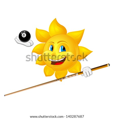 smiling sun is playing billiards - stock vector