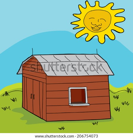 Smiling sun over barn with open window and counter - stock vector