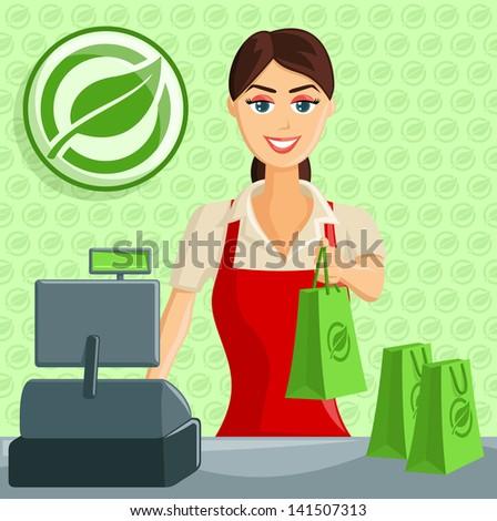 Smiling Supermarket / Eco Green Store Cashier Girl handing out bag - stock vector