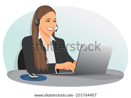 Smiling support center operator with headset is sitting at office - stock vector