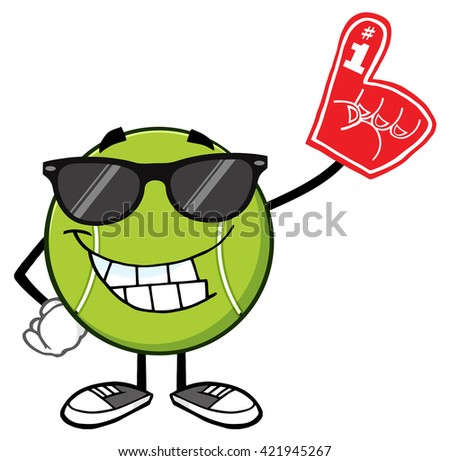 Smiling Tennis Ball Cartoon Mascot Character With Sunglasses Wearing A Foam Finger. Vector Illustration Isolated On White - stock vector
