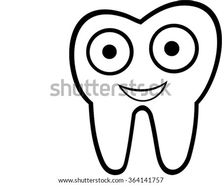 smiling tooth isolated illustration - stock vector