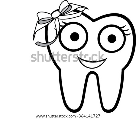 smiling tooth with ribbon isolated illustration - stock vector