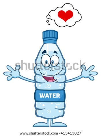 Smiling Water Plastic Bottle Cartoon Mascot Character Thinking Of Love And Wanting A Hug. Vector Illustration Isolated On White - stock vector