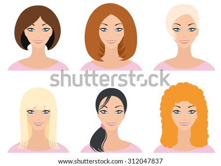 Smiling woman's face redheaded blonde-haired brunette with different types of cuts for the selection of choice, long short medium length curly. In a pink sweater and blue eyes - stock vector