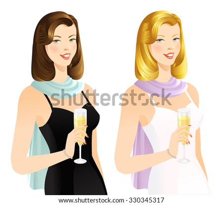 Smiling woman with champagne - stock vector