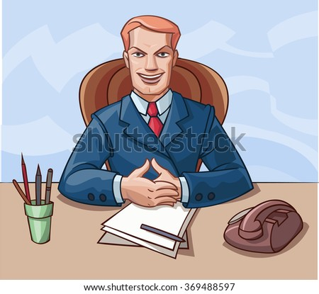 Smiling young man in a suit sitting at a table. - stock vector