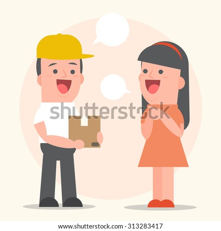 Smiling young man postal delivery a parcel at the girl customers house - white speech bubbles - Vector Illustration - stock vector