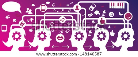 SMM social network, communication in the global computer networks - stock vector