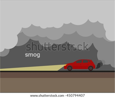 smog, air pollution, vector illustration, flat icon isolated on a dark background for your design - stock vector