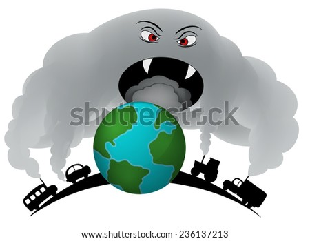 Smog from transport covering the earth. - stock vector