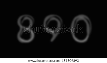 Smoke alphabet font. Numbers 8-0. Vector illustration - stock vector