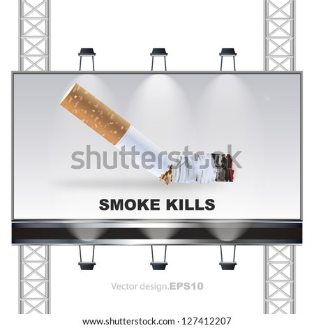 Smoke kills concept on a billboard. vector design - stock vector