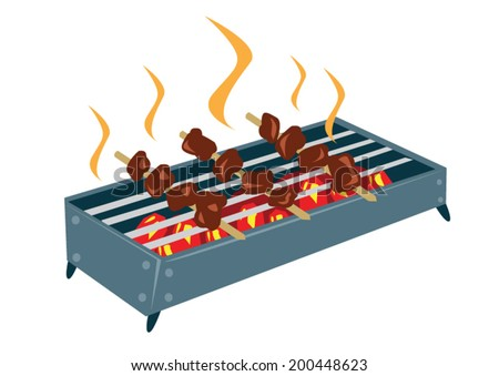 Smoked and Grilled Barbeque Kebab vector. isolated on white backgorund - stock vector