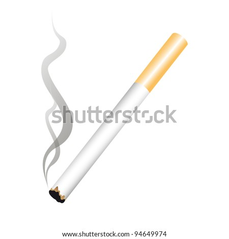 Smoking a cigarette with a filter - stock vector