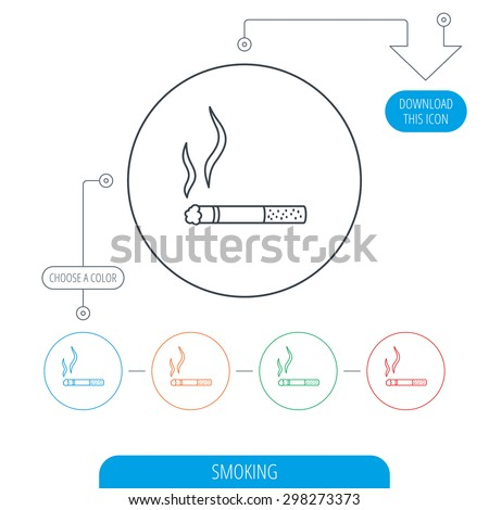 Smoking allowed icon. Yes smoke sign. Line circle buttons. Download arrow symbol. Vector - stock vector