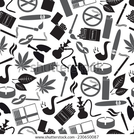 smoking and cigarettes simple black icons pattern eps10 - stock vector