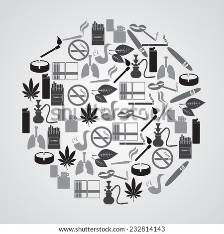 smoking and cigarettes simple icons in circle eps10 - stock vector