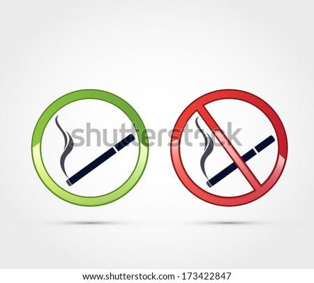 Smoking and no smoking area symbol, label vector - stock vector