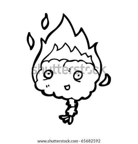 smoking brain cartoon - stock vector
