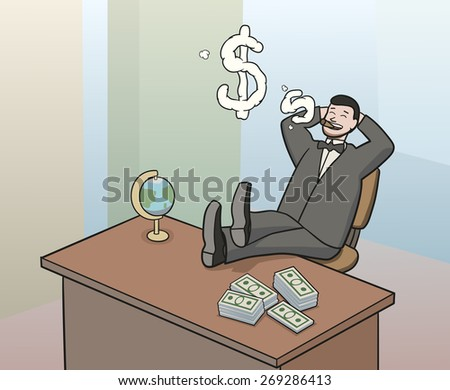smoking businessman - stock vector