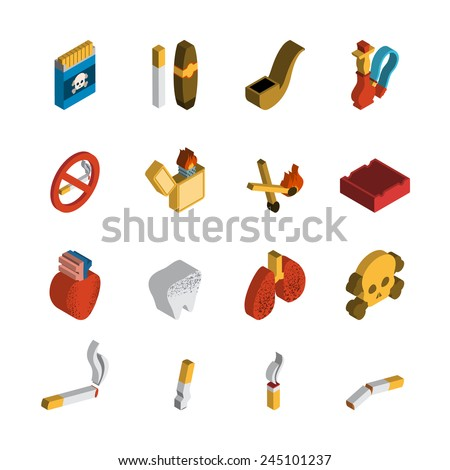 Smoking 3d isometric icon set with matches cigar pipe isolated vector illustration - stock vector