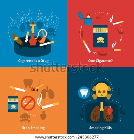 Smoking design concept with cigarettes grugs flat icons set isolated vector illustration - stock vector
