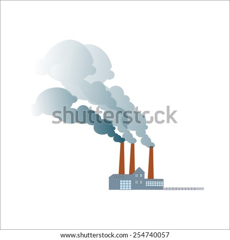 Smoking dirty polluting plant or factory on a neutral background - stock vector