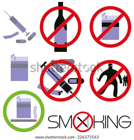 Smoking, drugs, bullies. Signs on dependence to harmful habits.Vector illustration. - stock vector