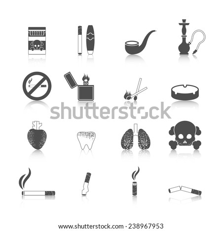 Smoking icon black set with cigarette cigar skull and crossbones isolated vector illustration - stock vector