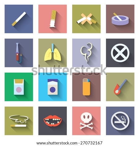 Smoking icon flat set with cigarette. Vector illustration - stock vector
