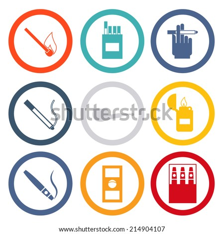 Smoking Isolated icons set modern trendy vector illustration - stock vector