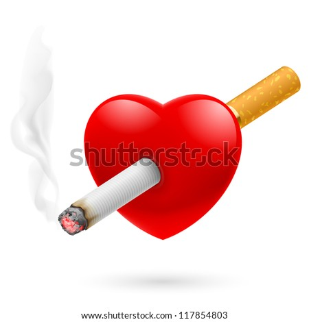 Smoking kill. Illustration of red heart impaled by cigarette. - stock vector