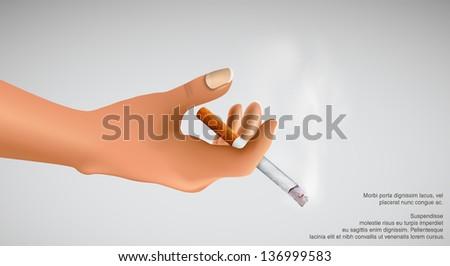 Smoking kills! hand holding a smoking cigarette - stock vector