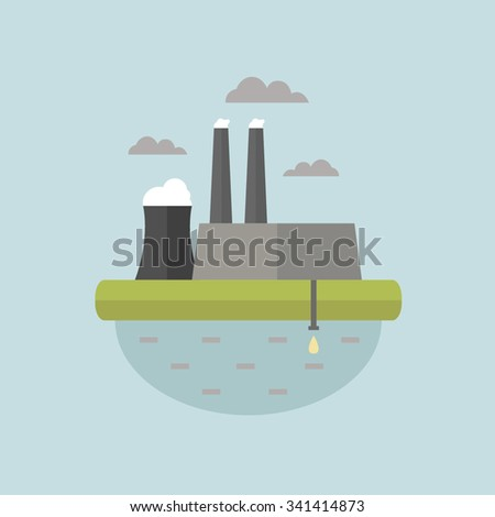 Smoking plant. Bad ecology. Environmental protection. Water pollution. - stock vector