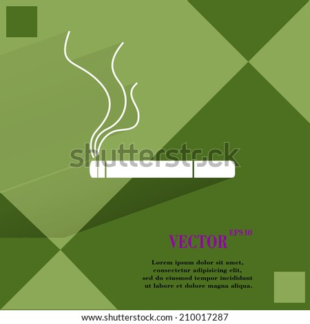 Smoking sign. cigarette. Flat modern web buttonon a flat geometric abstract background  Vector. EPS10 - stock vector
