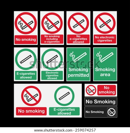 Smoking signs - stock vector