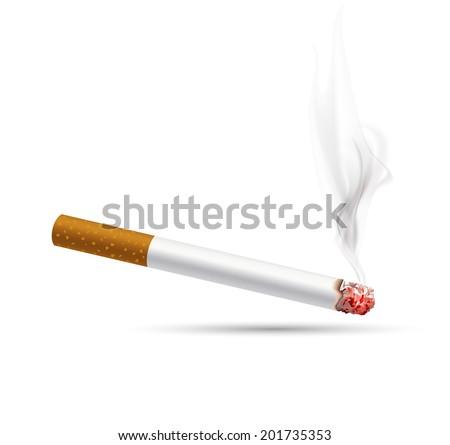 smoldering cigarette on a white background - stock vector