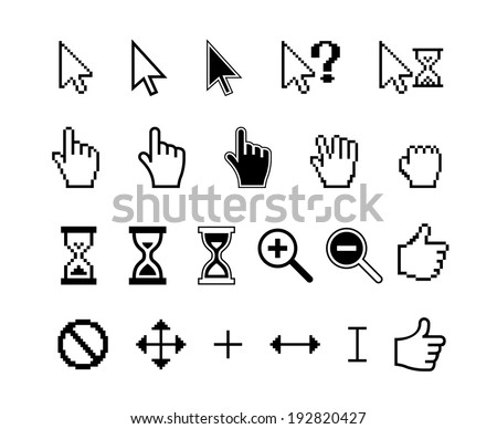 smooth and pixel vector cursors icons: finger hand thumb up and magnifier - stock vector